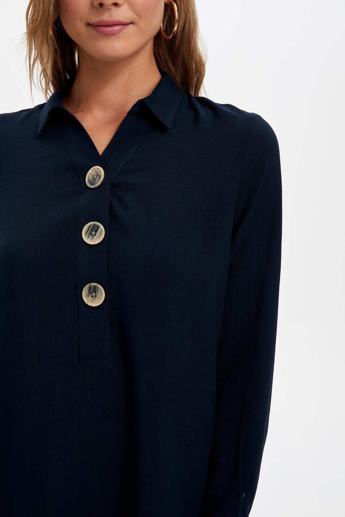 Defacto Kadın Lacivert Gömlek Yaka Düğmeli Tunik L0990AZ.19AU.NV167 3