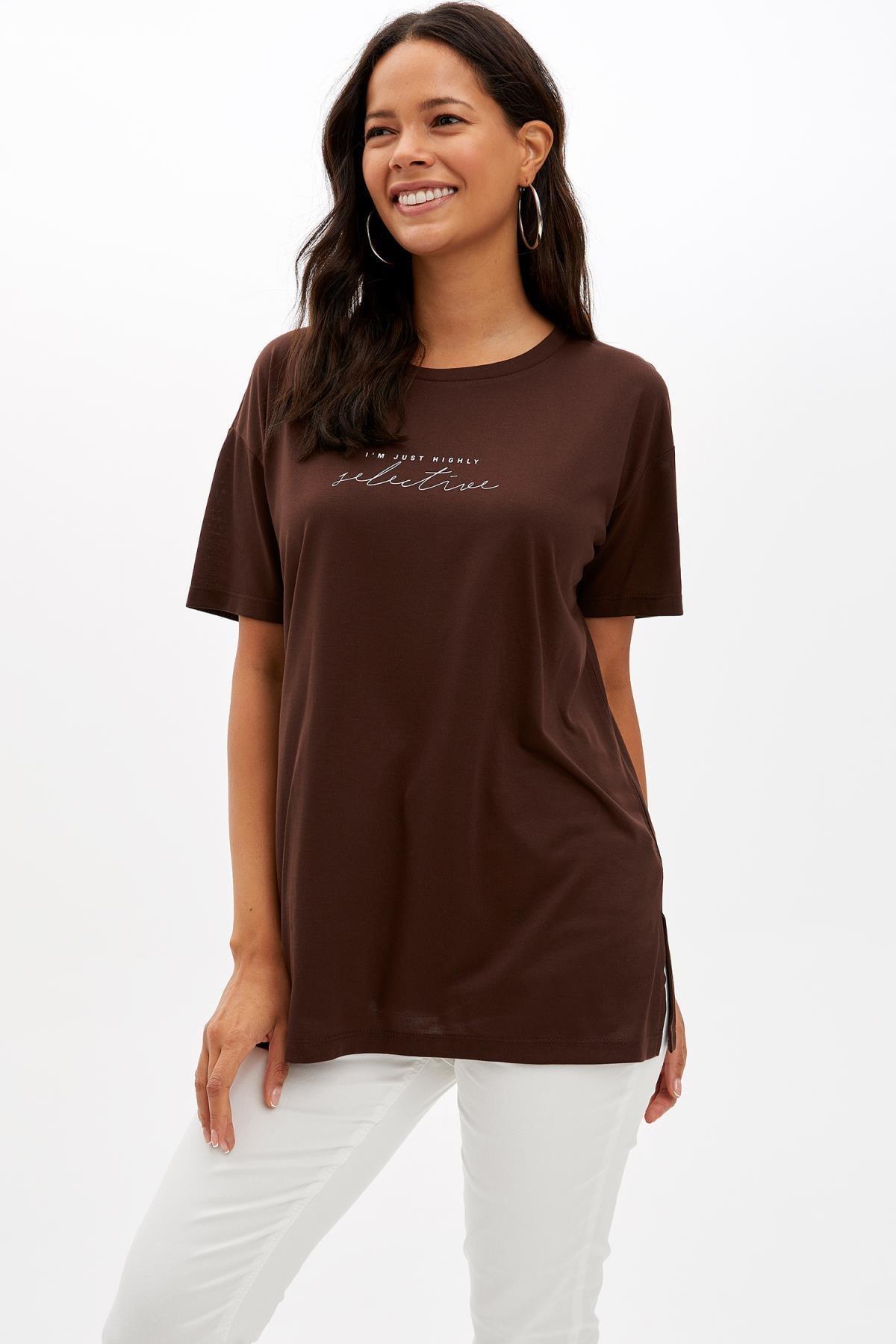 Defacto Kadın Kahverengi Baskılı Regular Fit T-Shirt M1868AZ.19AU.BN45 0