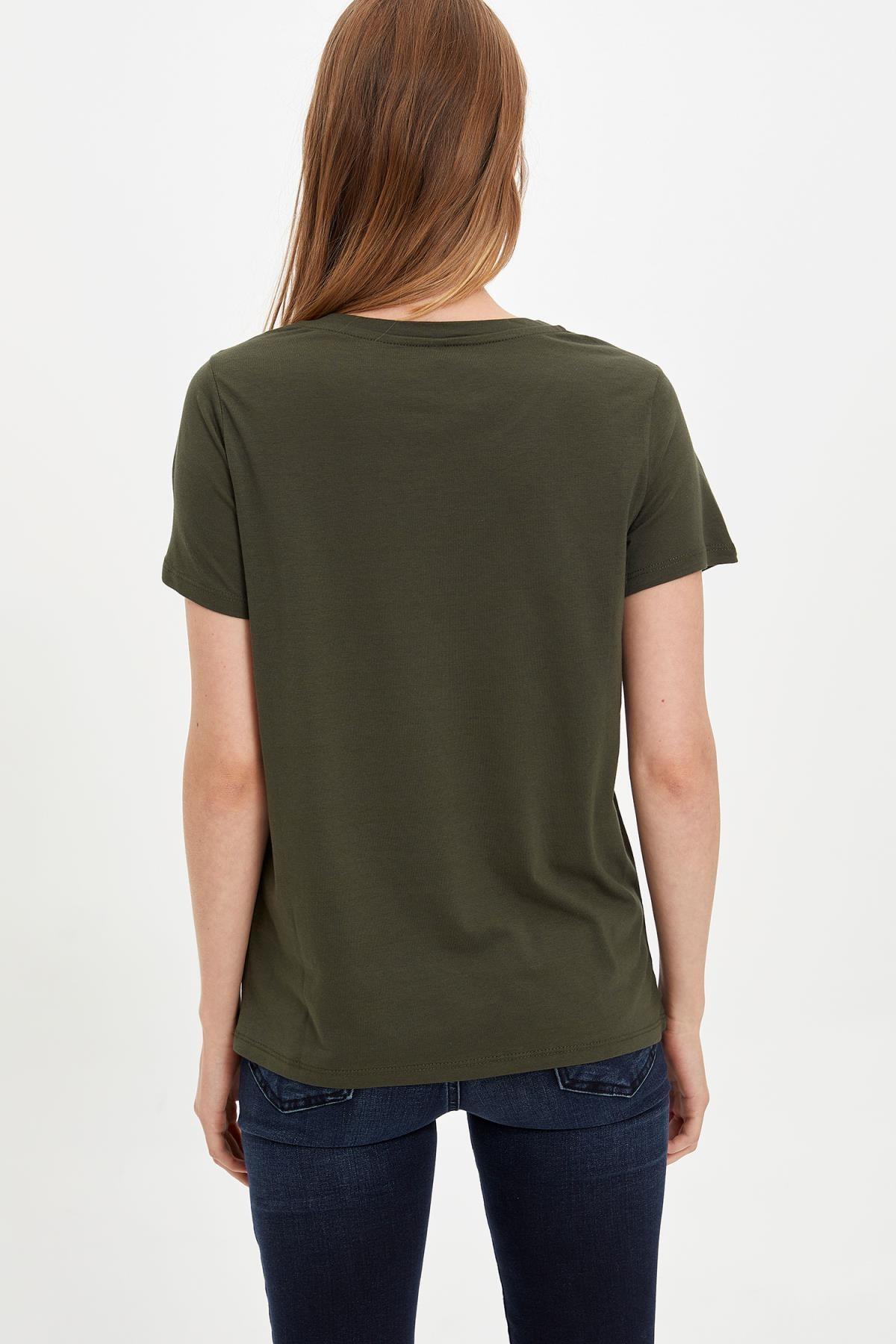 Defacto Kadın Haki Kısa Kollu T-shirt L6533AZ.19AU.KH211 4