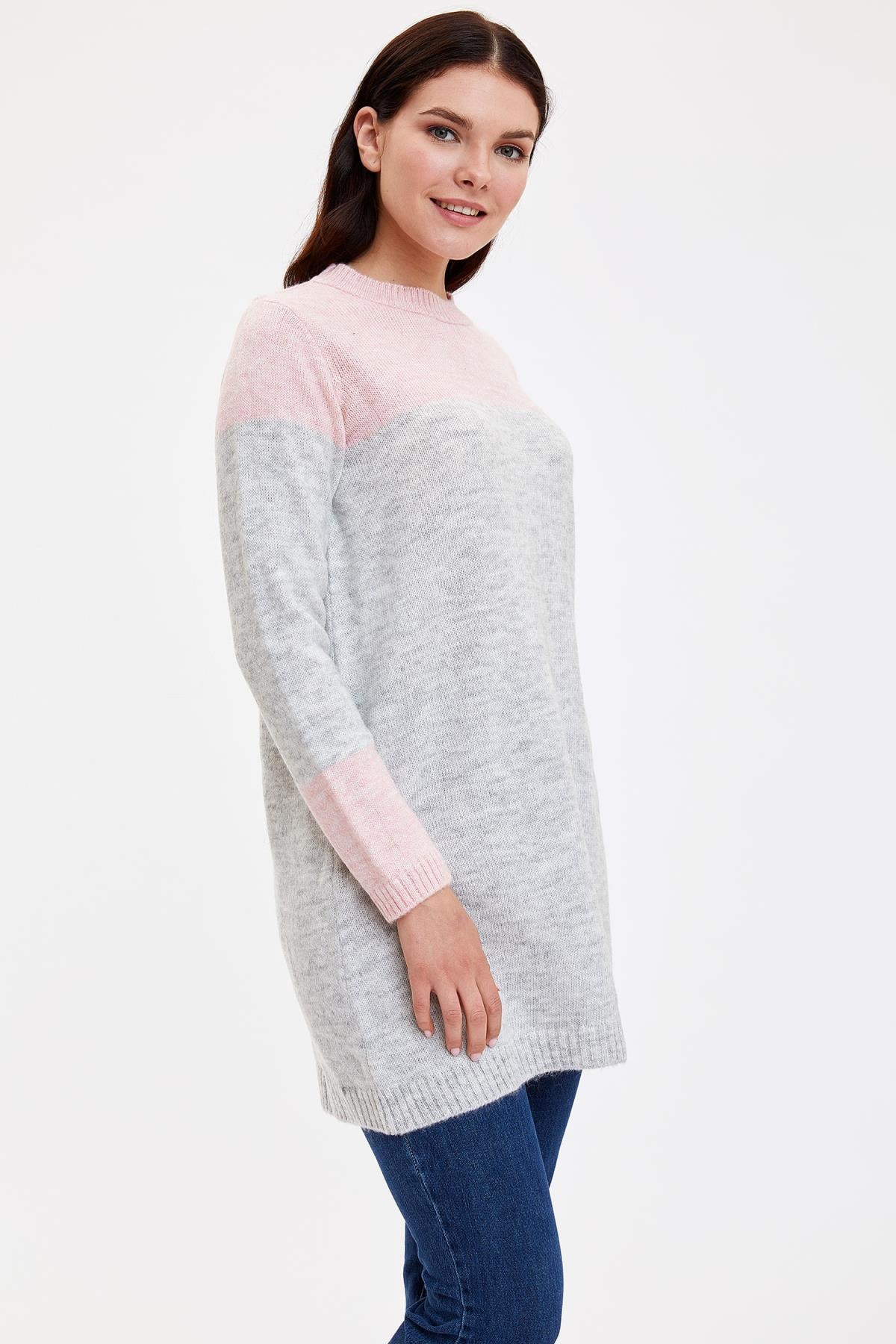 Defacto Kadın Modest Gri Renk Bloklu Triko Tunik J2910AZ.19AU.GR28 0