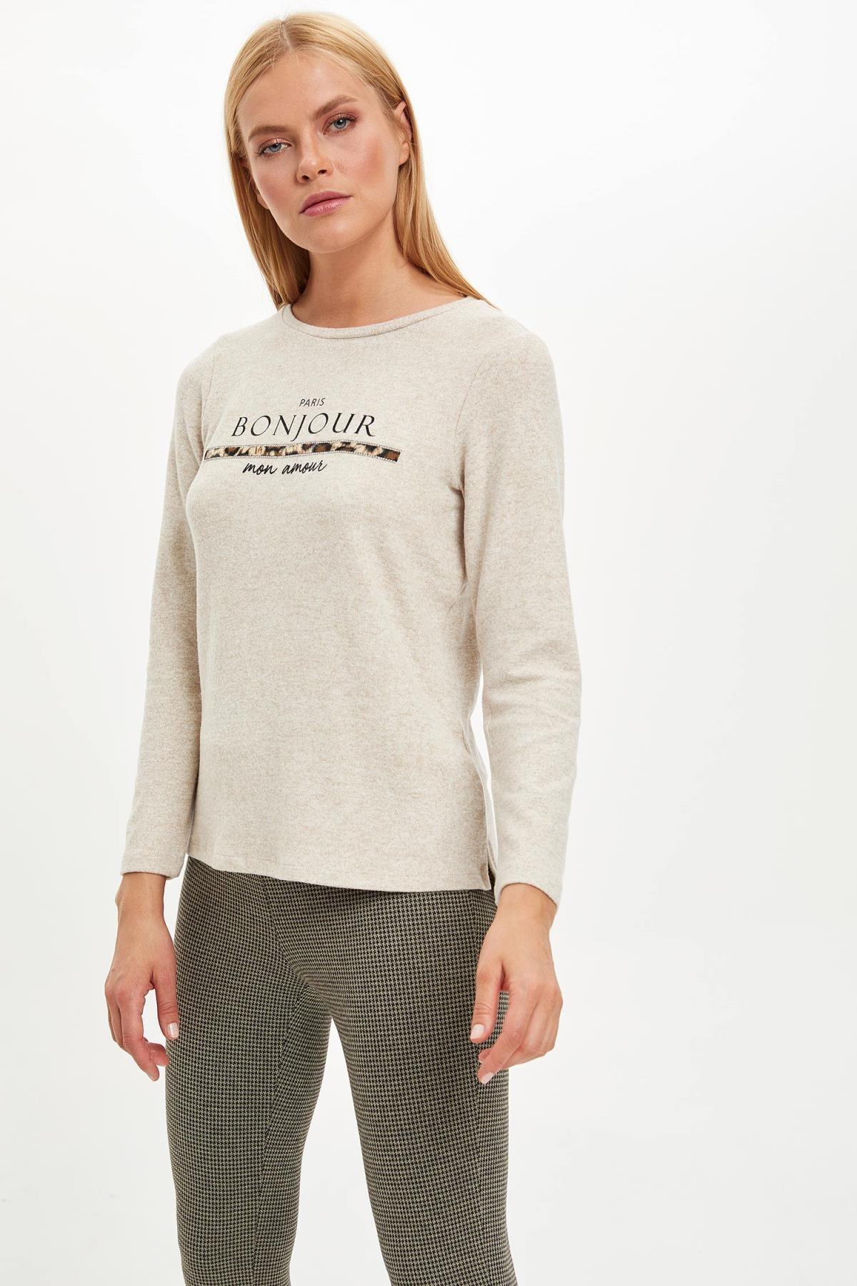 Defacto Kadın Bej Yazı Baskılı Uzun Kollu T-Shirt M3886AZ.19WN.BG336 0