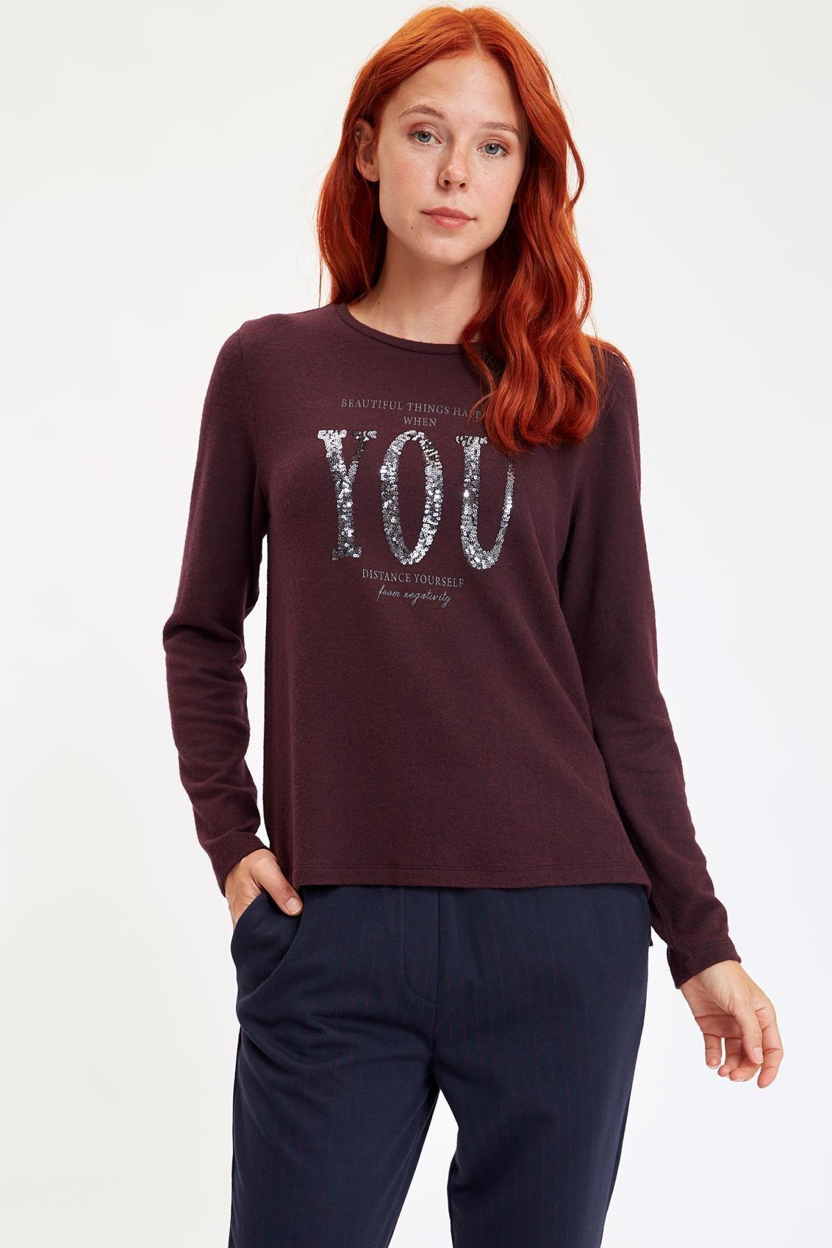 Defacto Kadın Mor Baskılı Uzun Kollu T-Shirt M1308AZ.19AU.PR166 0
