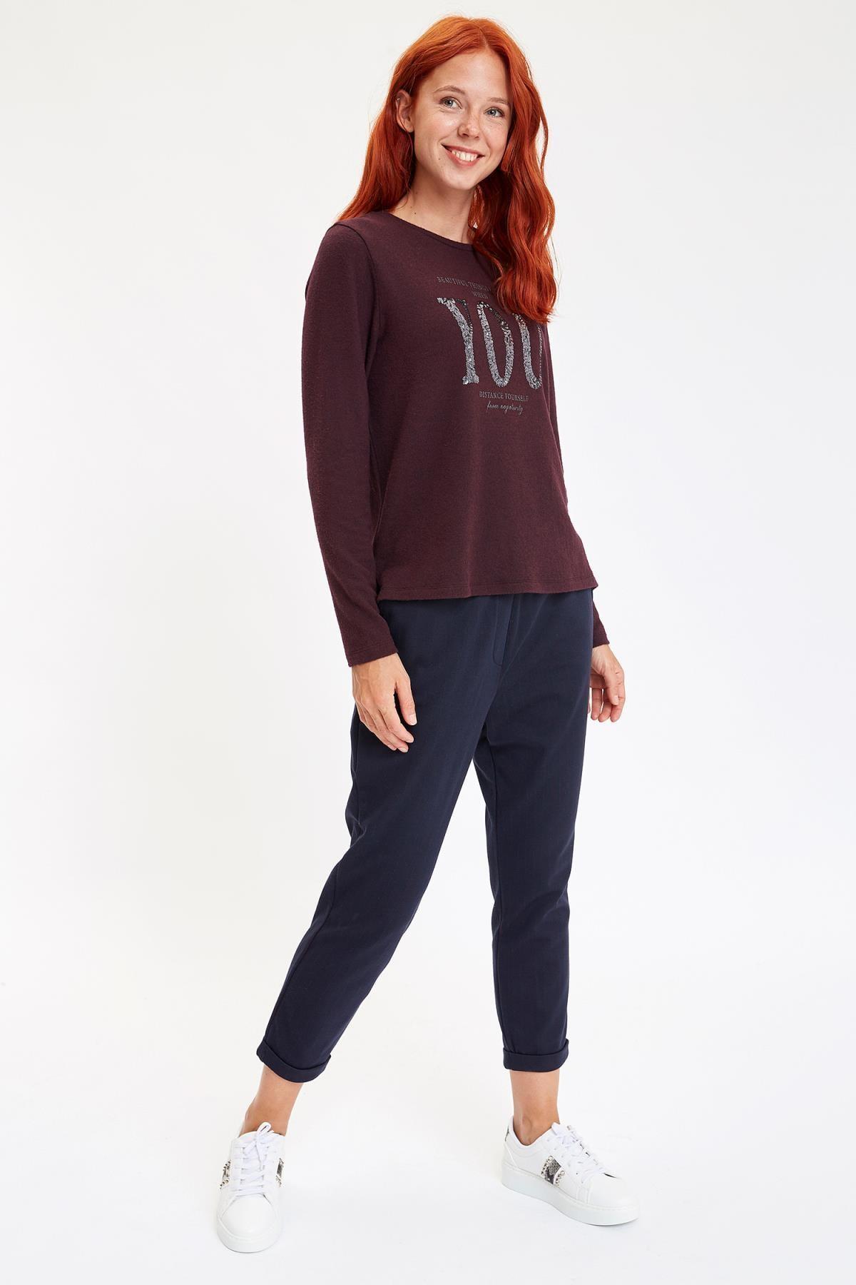 Defacto Kadın Mor Baskılı Uzun Kollu T-Shirt M1308AZ.19AU.PR166 1