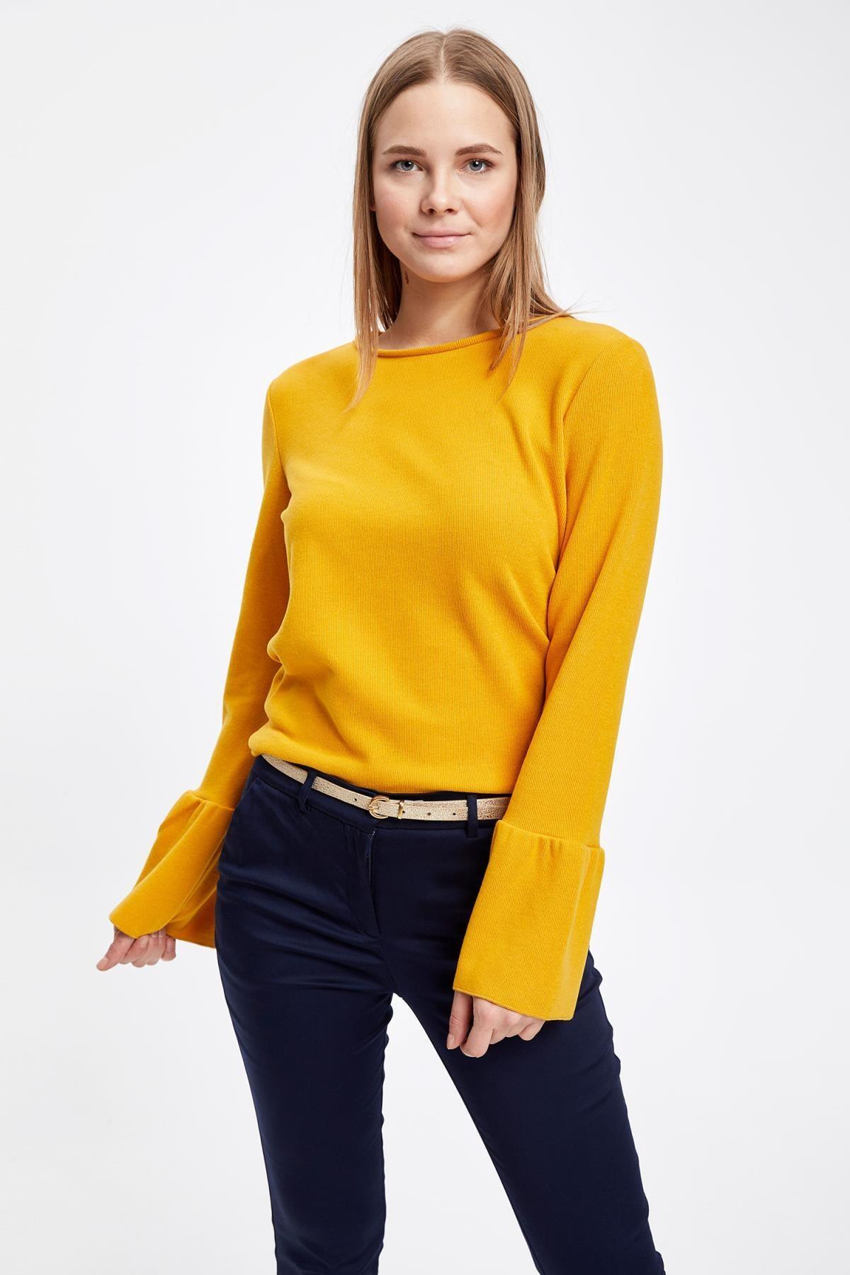 Defacto Kadın Sarı Uzun Kollu Kol Ucu Fırfırlı T-Shirt 0