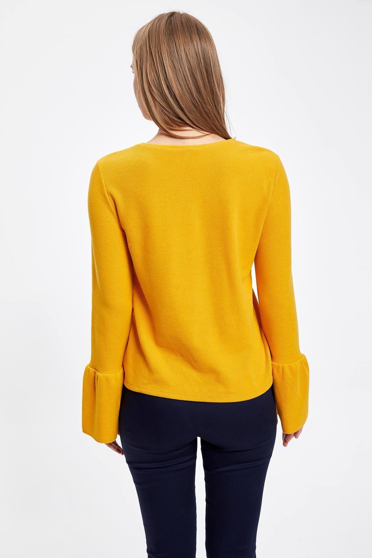 Defacto Kadın Sarı Uzun Kollu Kol Ucu Fırfırlı T-Shirt 3