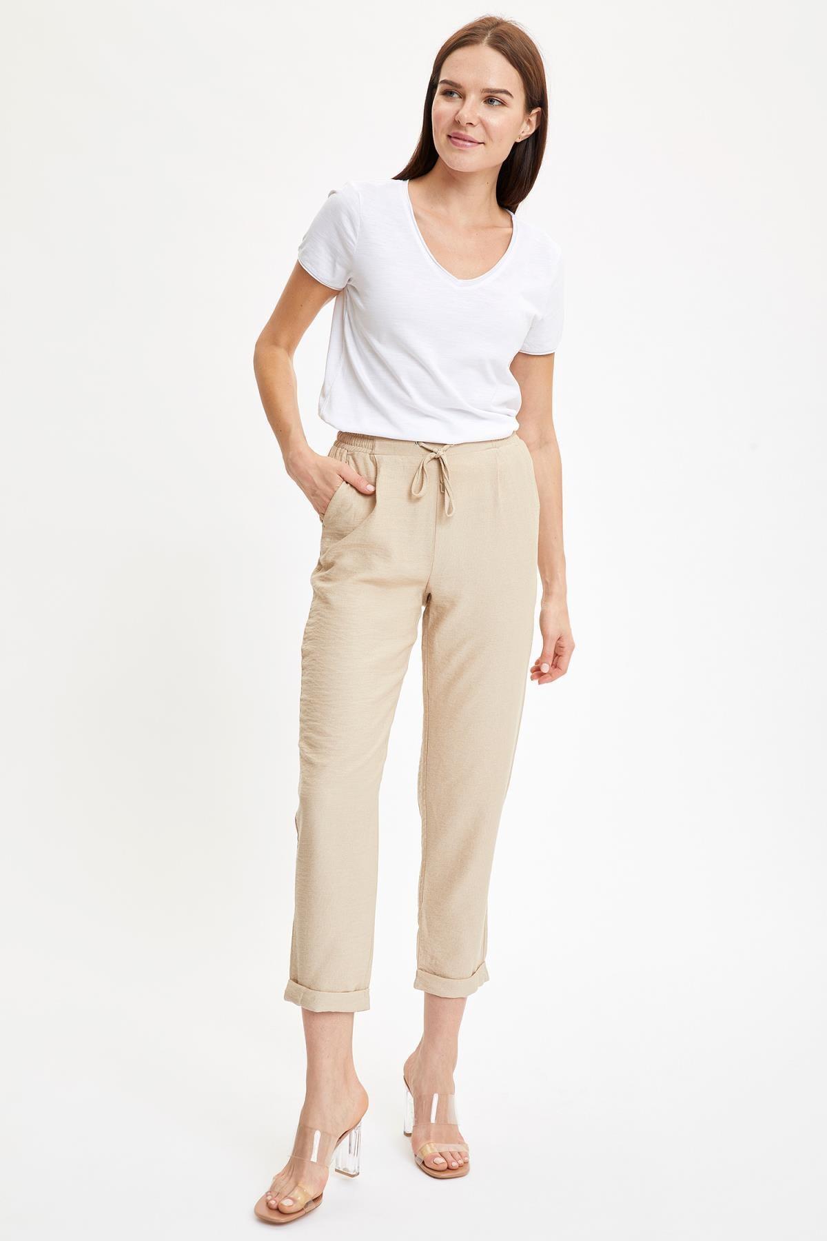 Defacto Kadın Beyaz V Yakalı Kısa Kollu T-Shirt K1507AZ.20SP.WT34 1