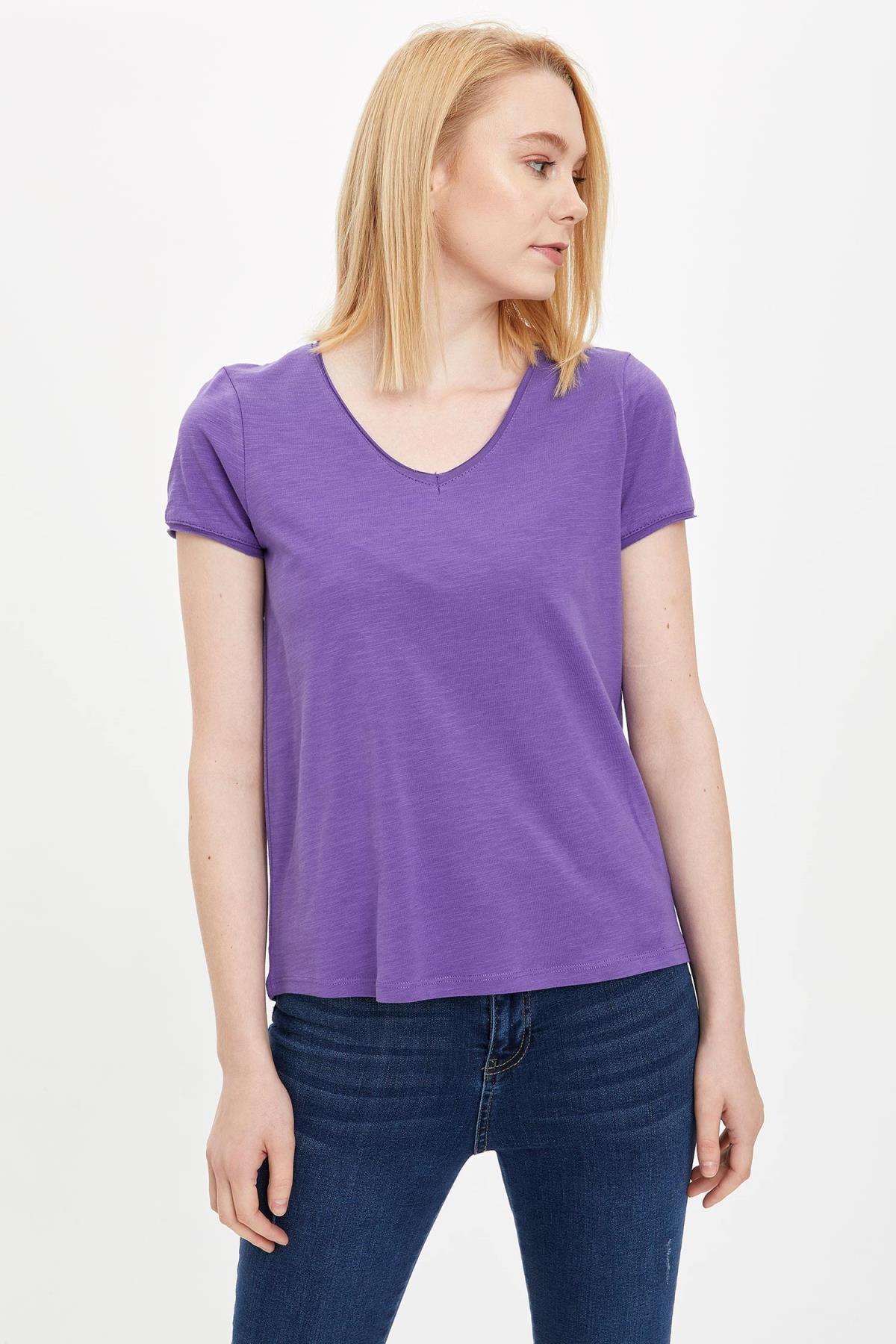 Defacto Kadın Mor V Yakalı Kısa Kollu T-Shirt K1507AZ.20SP.PR68 1
