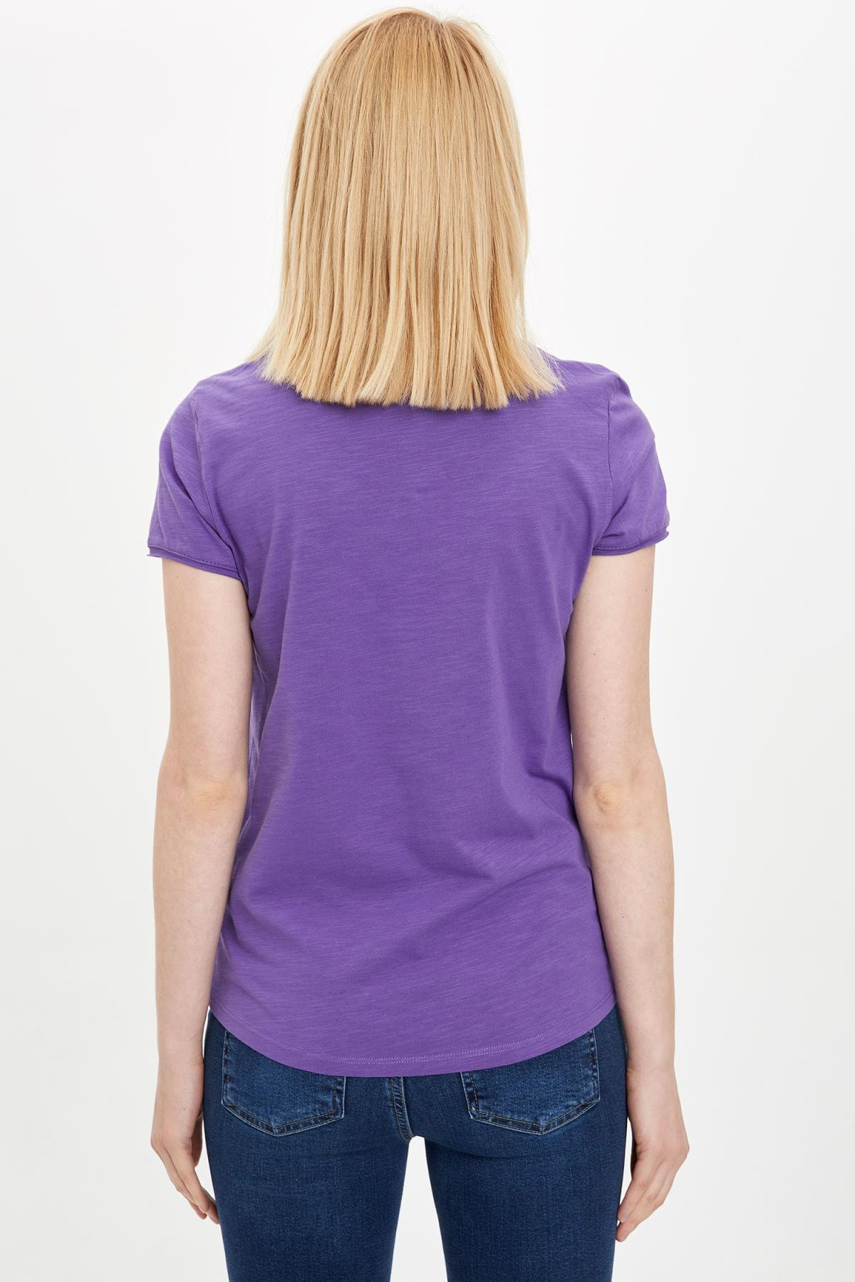 Defacto Kadın Mor V Yakalı Kısa Kollu T-Shirt K1507AZ.20SP.PR68 3