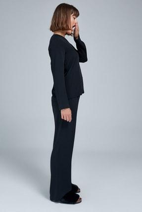 Appleline Kadın Siyah Düğmeli Pijama Takımı 2