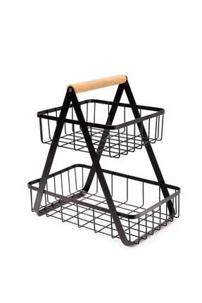 Zarif Home Iki Katlı Metal Sunumluk Sepeti Siyah 0