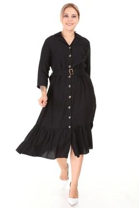 Kadın Büyük Beden Eteği Büzgü Önü Düğmeli Kemerli Truvakar Kol Elbise Siyah resmi