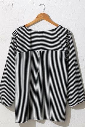 LC Waikiki Kadın Siyah Çizgili Bluz 0WDK75Z8 1