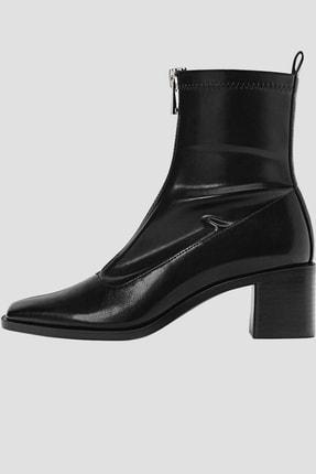 Stradivarius Kadın Siyah Fermuarlı Streç Yüksek Topuklu Bilekte Bot 19904670 0