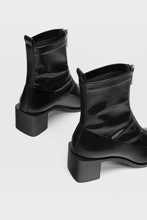 Stradivarius Kadın Siyah Fermuarlı Streç Yüksek Topuklu Bilekte Bot 19904670 3