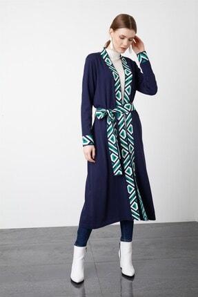 Tığ Triko Kadın Lacivert Bantlı Desenli Uzun Rayon Hırka 3