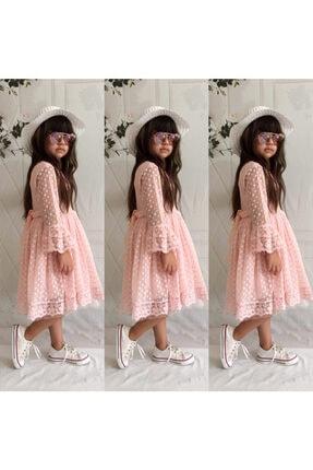 Mixie Kız Çoçuk Pembe Şapkalı Güpürlü Prenses Model Elbisesi 0