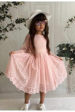 Mixie Kız Çoçuk Pembe Şapkalı Güpürlü Prenses Model Elbisesi 1
