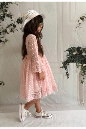 Mixie Kız Çoçuk Pembe Şapkalı Güpürlü Prenses Model Elbisesi 3