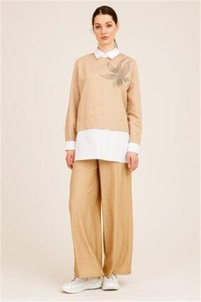 Ghisa Kadın Camel Önü Taşlı Tunik Pantolon Takımı 0