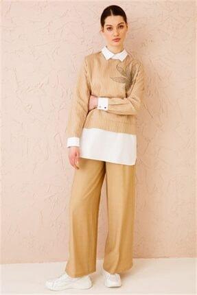 Ghisa Kadın Camel Önü Taşlı Tunik Pantolon Takımı 4