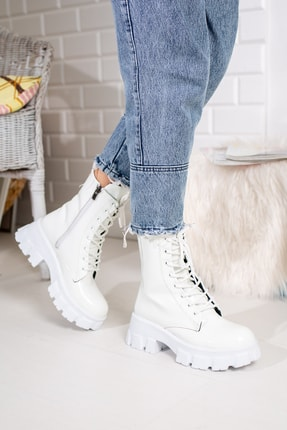 Moda Değirmeni Beyaz Kırışık Rugan Kadın Bot Md1001-116-0002 0