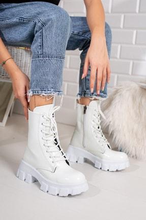 Moda Değirmeni Beyaz Kırışık Rugan Kadın Bot Md1001-116-0002 2