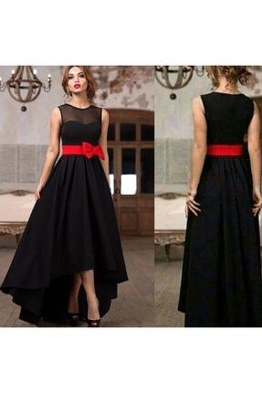 Styling Park Kadın Siyah Fiyonk ve Tül Detaylı Abiye Elbise 1