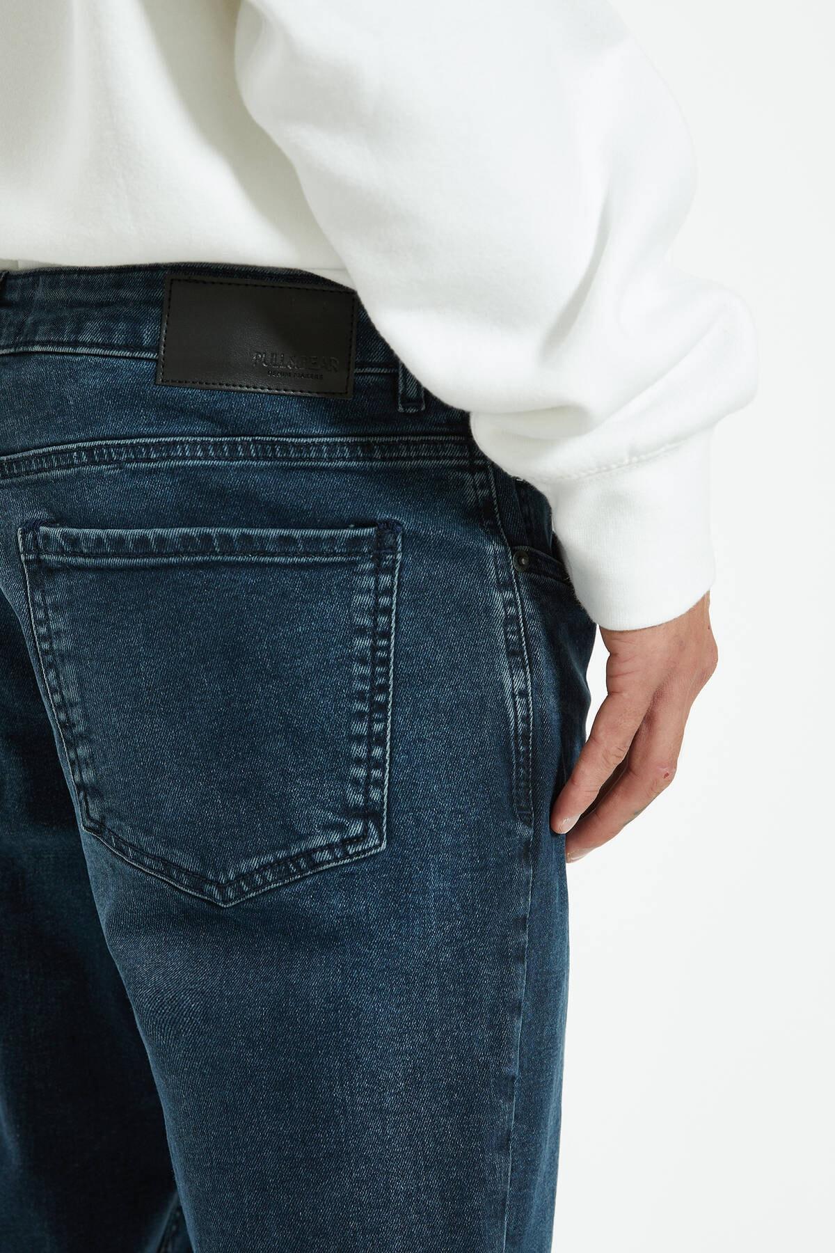 Pull & Bear Erkek Lavanta Rengi Distressed Detaylı Comfort Slim Fit Jean 09683533 1