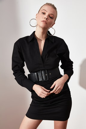 TRENDYOLMİLLA Siyah Yaka Detaylı Elbise TWOAW21EL1388 0