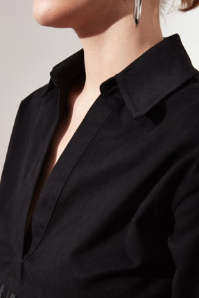 TRENDYOLMİLLA Siyah Yaka Detaylı Elbise TWOAW21EL1388 4