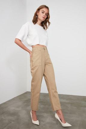 TRENDYOLMİLLA Camel Püskül Detaylı Yüksek Bel Straight Jeans TWOAW21JE0072 1