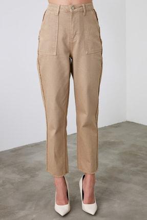 TRENDYOLMİLLA Camel Püskül Detaylı Yüksek Bel Straight Jeans TWOAW21JE0072 4