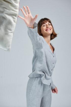 Appleline Kadın Gri Düğmeli Pijama Takımı 0