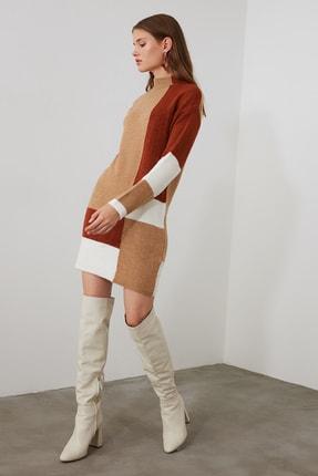 TRENDYOLMİLLA Kahverengi Colorblock Triko Kazak Elbise TWOAW20FV0063 1