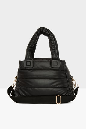 Bagmori Kadın Siyah Üç Bölmeli Şişme Çanta M000005141 3
