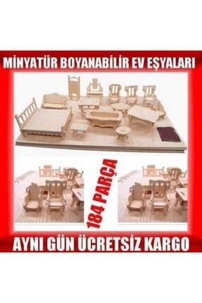 İstoc Trend Ahşap Minyatür Ev Eşyaları Eğitici Oyuncak 184 Parça 37 Mobilya 1