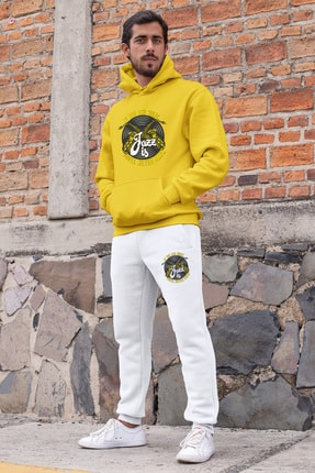 Angemiel Erkek Sarı Jazz ve Saksafon Kapşonlu Sweatshirt ve Beyaz Eşofman Altı Takım 0