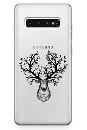 Zipax Samsung Galaxy A21s Kılıf Geyik Ve Orman Desenli Baskılı Silikon Kılıf 4
