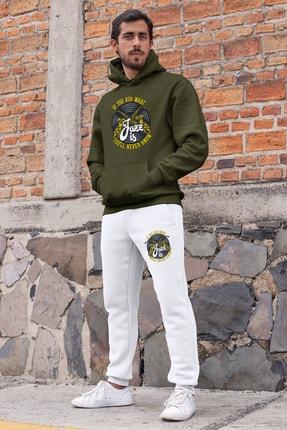 Angemiel Erkek Yeşil Jazz ve Saksafon Kapşonlu Sweatshirt ve Beyaz Eşofman Altı Takım 0