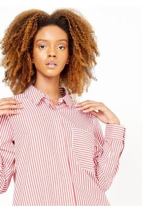 Adze Kadın Kırmızı Çizgili Cepli Gömlek 1