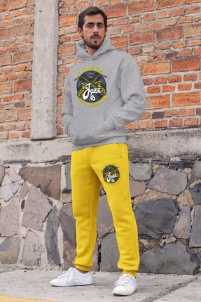 Angemiel Erkek Gri Kapüşonlu Sweatshirt Sarı Eşofman Altı 0