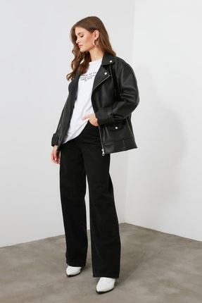 TRENDYOLMİLLA Siyah Yüksek Bel Wide Leg Jeans TWOAW21JE0099 2