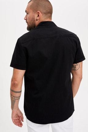 Defacto Erkek Siyah Kot Kısa Kollu Slim Fit Jean Gömlek L3493AZ.19SM.NM40 3