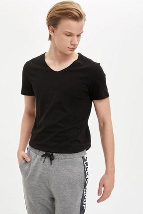 Defacto Slim Fit V Yaka Basic Kısa Kollu Siyah Tişört 0