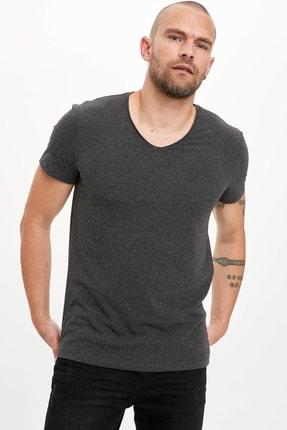 Defacto Erkek Antrasit Slim Fit T-Shirt M4792AZ.20SP.AR160 0