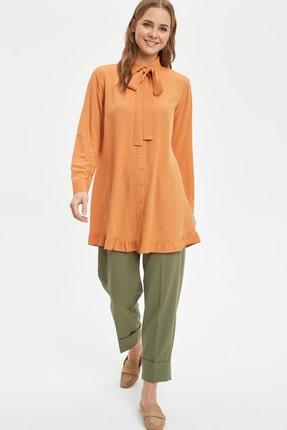 Defacto Kadın Modest Turuncu Yakası Bağlamalı Relax Fit Tunik L1123AZ.20SM.OG330 1