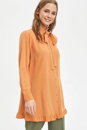 Defacto Kadın Modest Turuncu Yakası Bağlamalı Relax Fit Tunik L1123AZ.20SM.OG330 2
