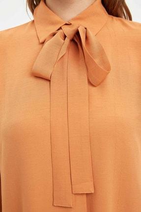 Defacto Kadın Modest Turuncu Yakası Bağlamalı Relax Fit Tunik L1123AZ.20SM.OG330 3