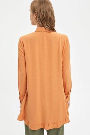 Defacto Kadın Modest Turuncu Yakası Bağlamalı Relax Fit Tunik L1123AZ.20SM.OG330 4