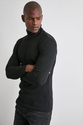 TRENDYOL MAN Siyah Erkek Slim Fit Lastik Örgü Balıkçı Yaka Triko Kazak TMNAW20MG0031 1